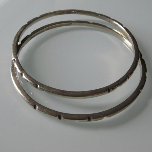Pair Textured Sterling Silver Bangles