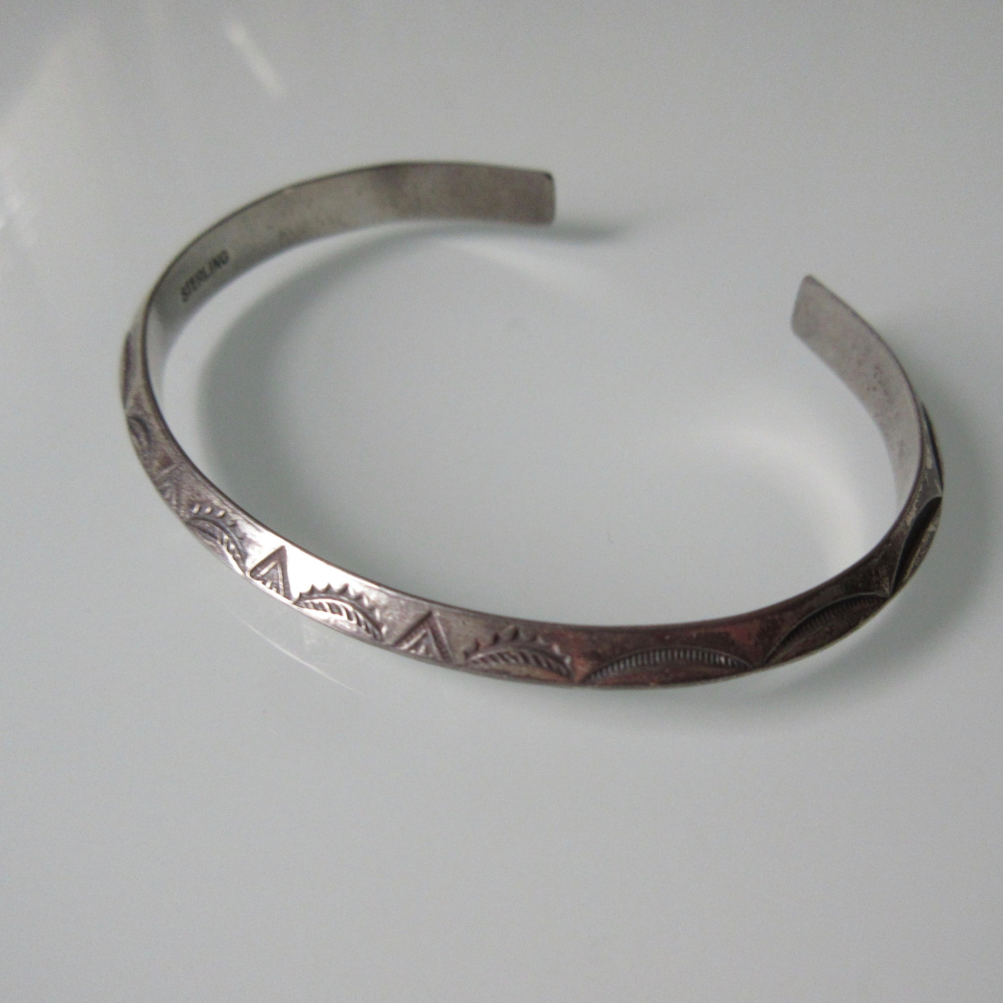 Etched Navajo Vintage Sterling Silver Cuff