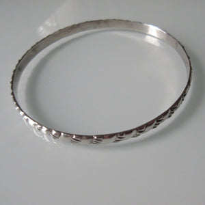 Vintage Diagonal Pattern Mexican Sterling Silver Bangle