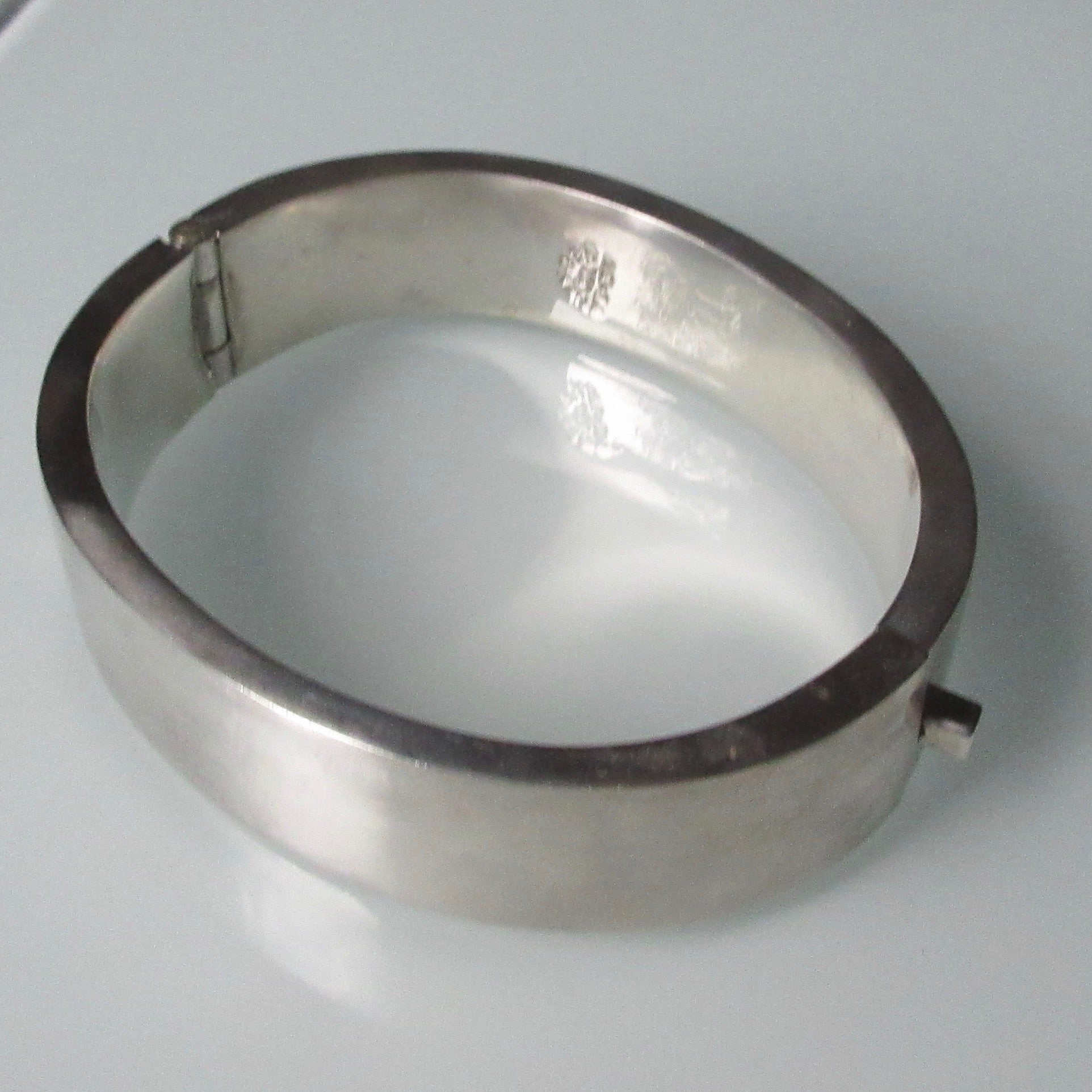Bold Hinged Mexican Sterling Silver Bracelet