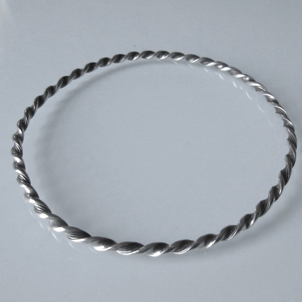 Twist Textured Sterling Silver Bangle