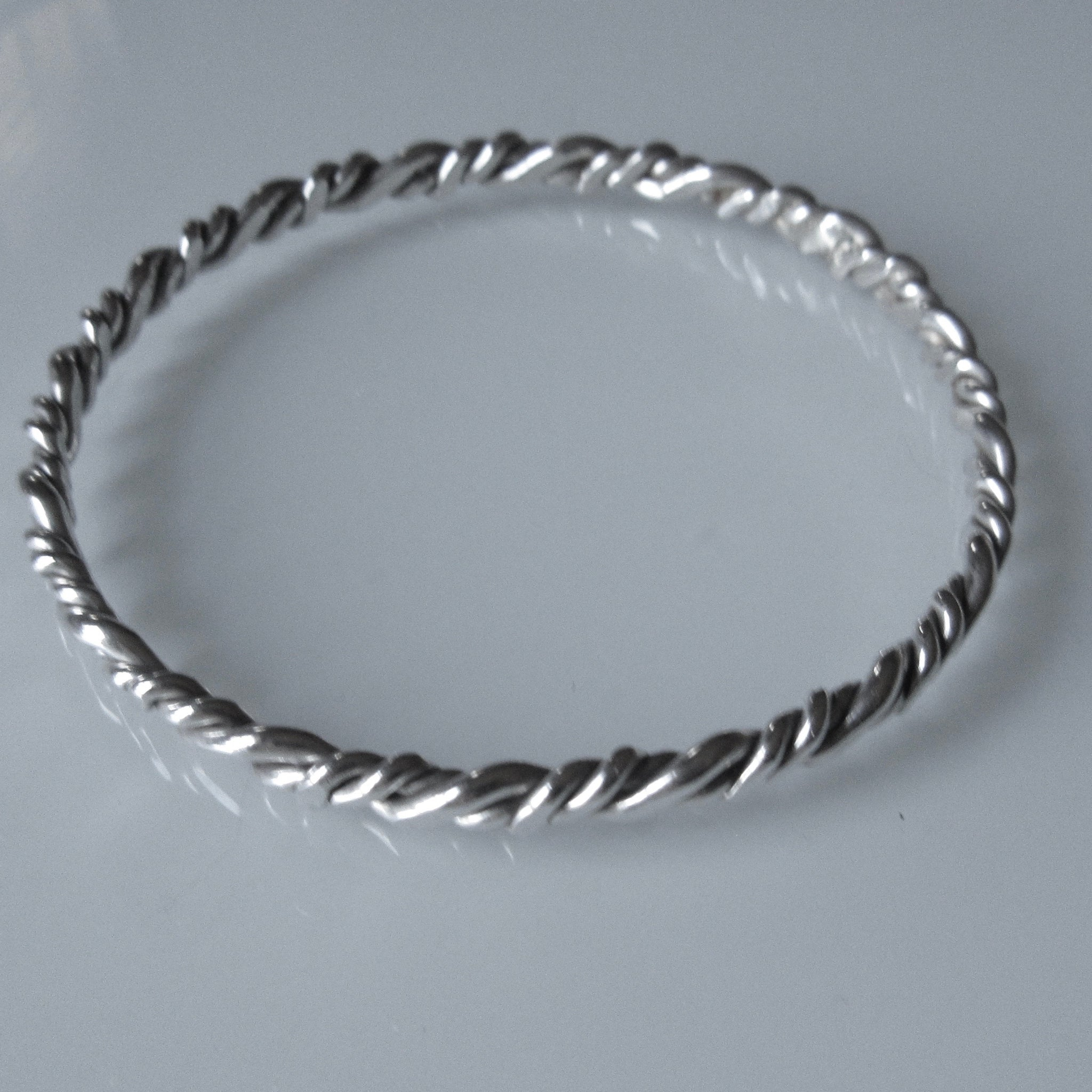 Wrapped Flat Sterling Silver Bangle