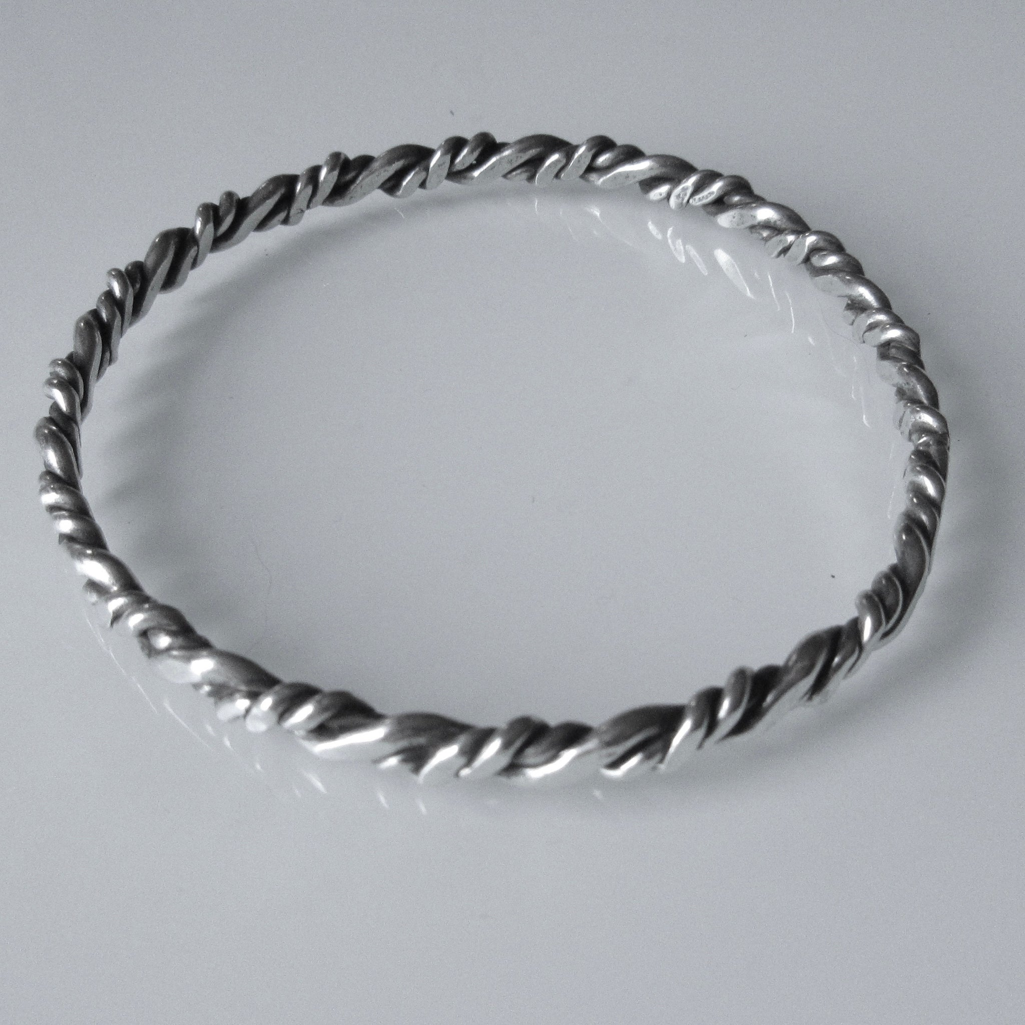 Wrapped Flat Patina Sterling Silver Bangle