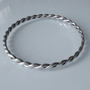 Braided Flat Sterling Silver Bangle
