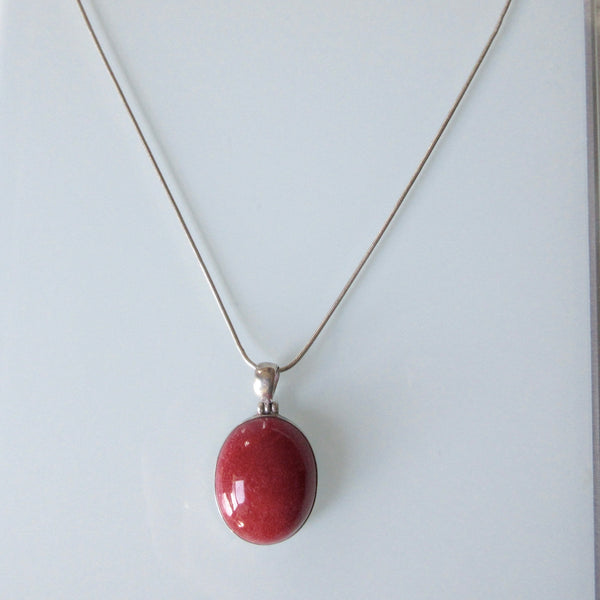 Coral Pendant and Sterling Silver Necklace