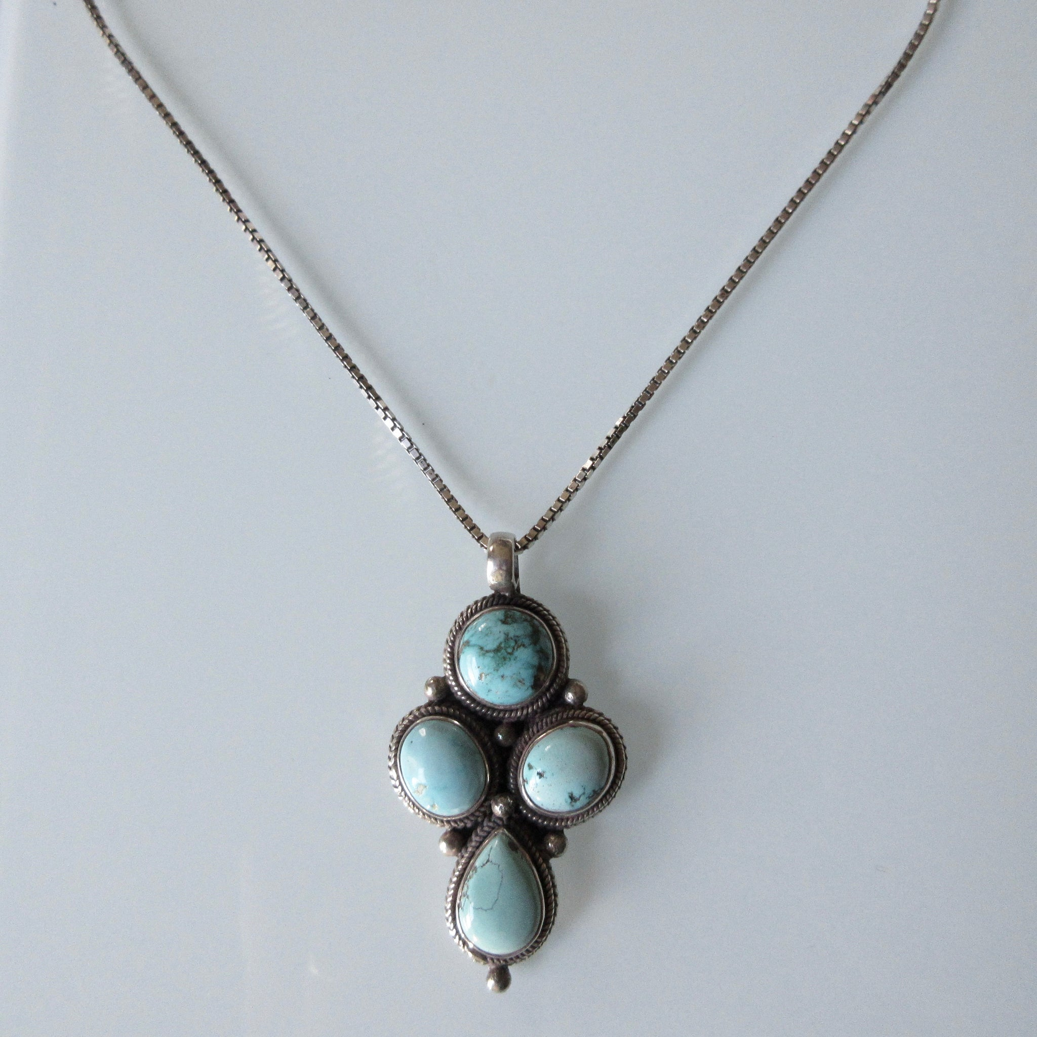 Turquoise Pendant and Sterling Silver Necklace
