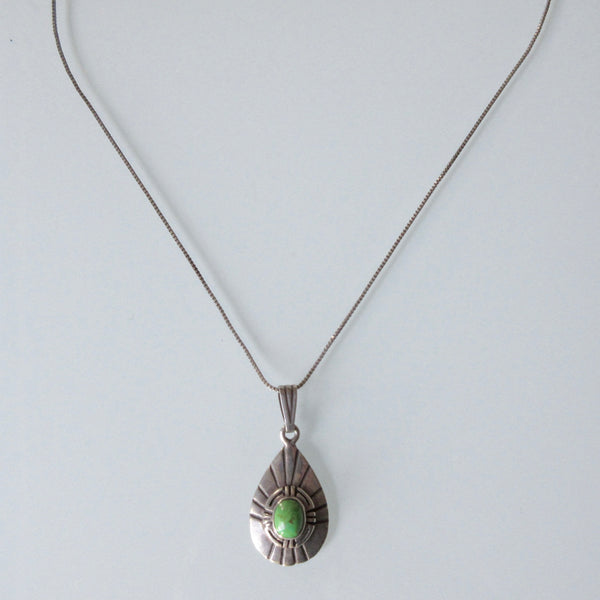Navajo Turquoise Pendant and Sterling Silver Necklace