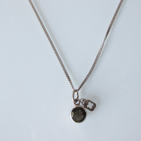 Contemporary Smokey Quartz  Pendant and Sterling Silver Necklace