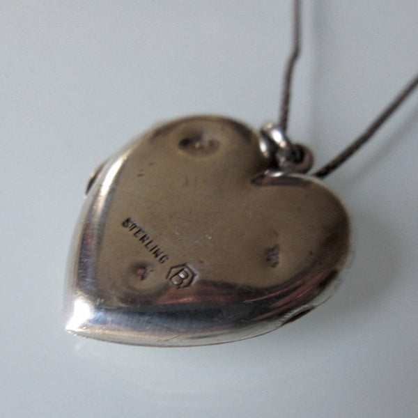Etched Heart Locket Pendant and Sterling Silver Necklace Birks