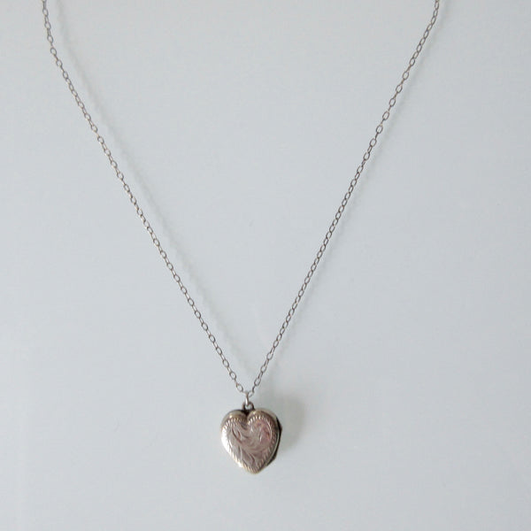 Child's  Etched Heart Locket Pendant and Sterling Silver Necklace Birks