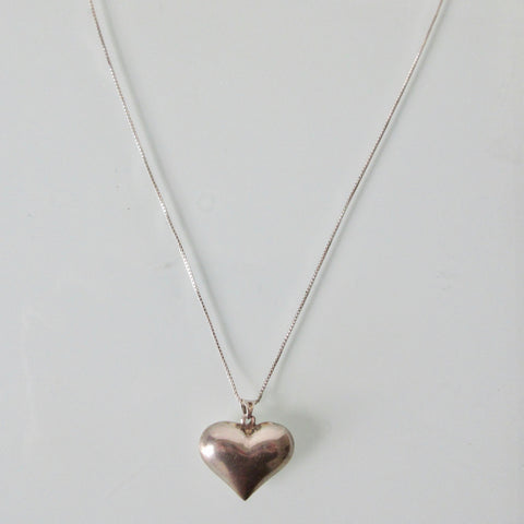 Heart Pendant and Sterling Silver Necklace Flat Chain