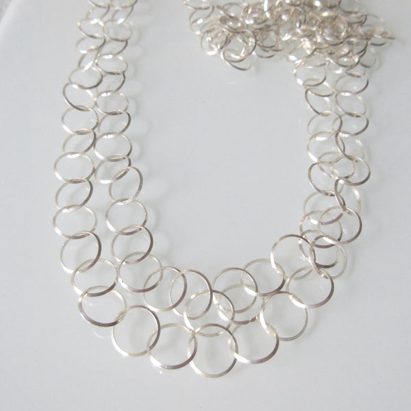 Long Link Sterling Silver Chain Necklace
