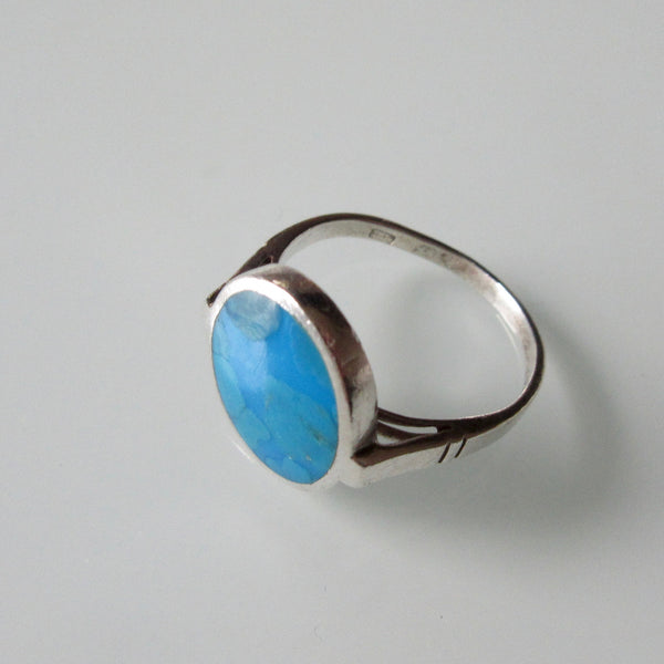 Turquoise Modernist Sterling Silver Ring