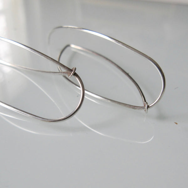 Wire Hoop Sterling Silver Earrings