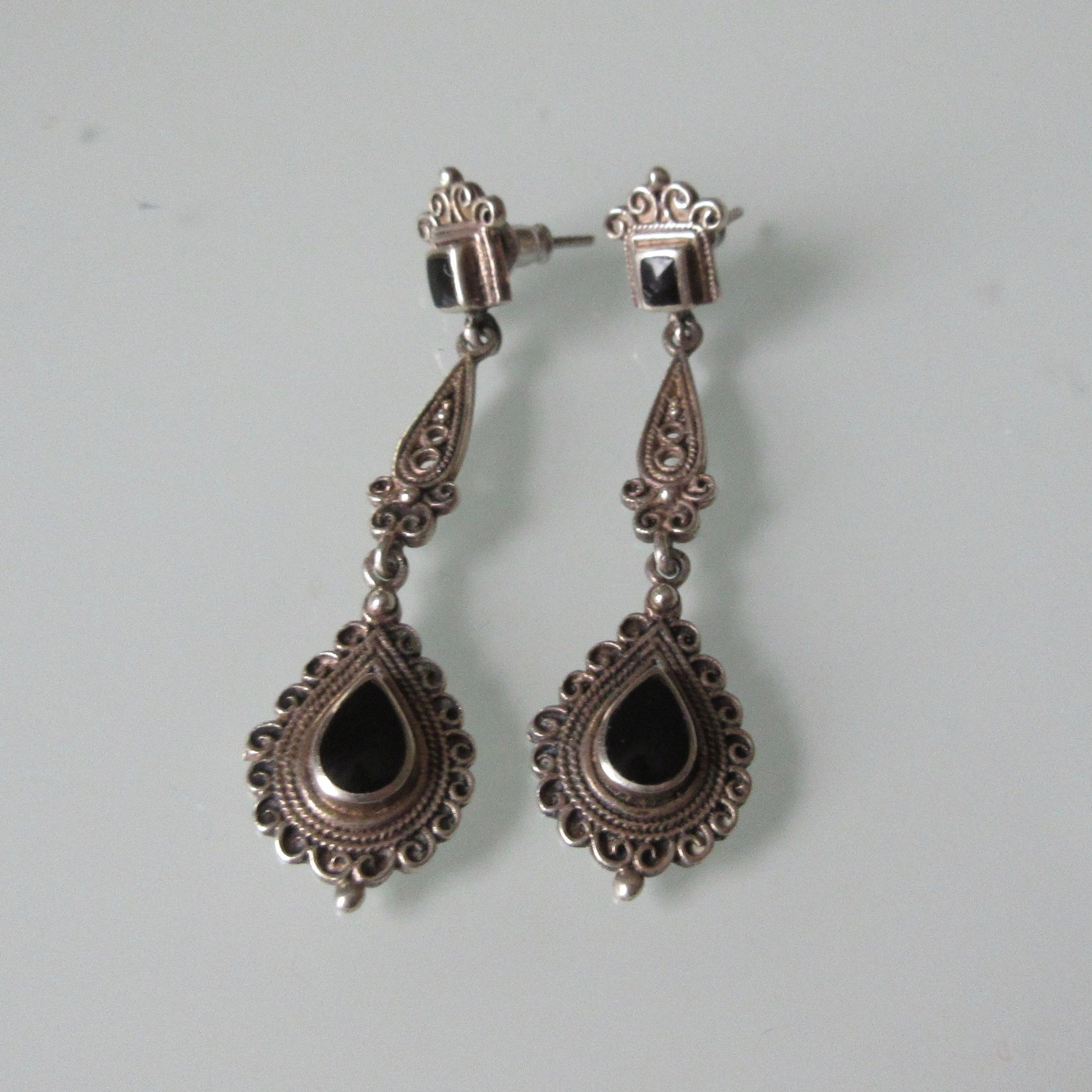 Delicate Filigree Dangle Sterling Silver Earrings