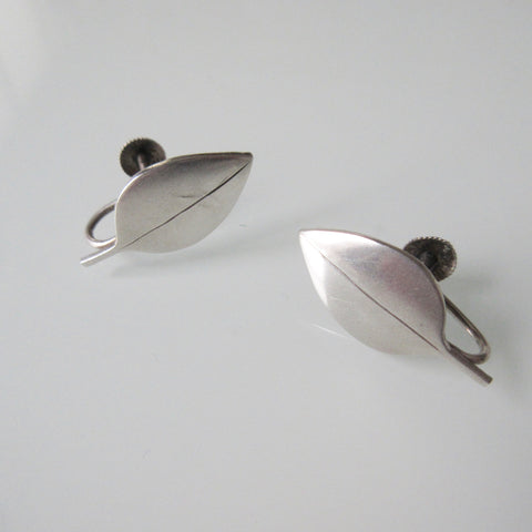 Modernist Leaf Sterling Silver Earrings
