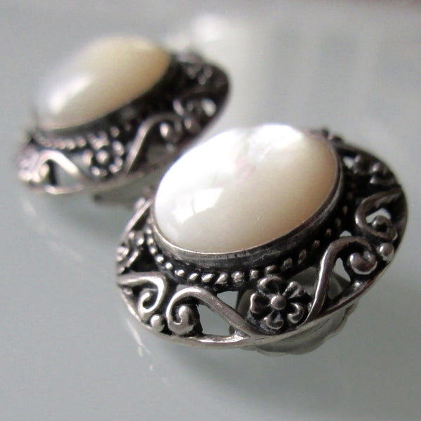 Filigree Mother of Pearl Sterling Silver Earrings
