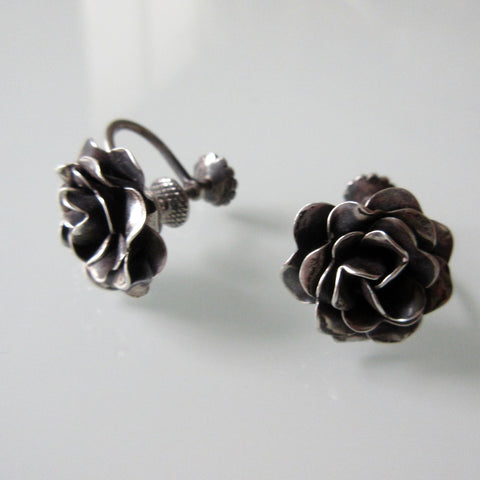 Rose Sterling Silver Earrings Screw Back