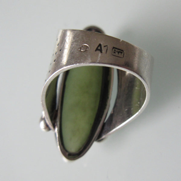 Antique Oblong Jade Sterling Silver Ring