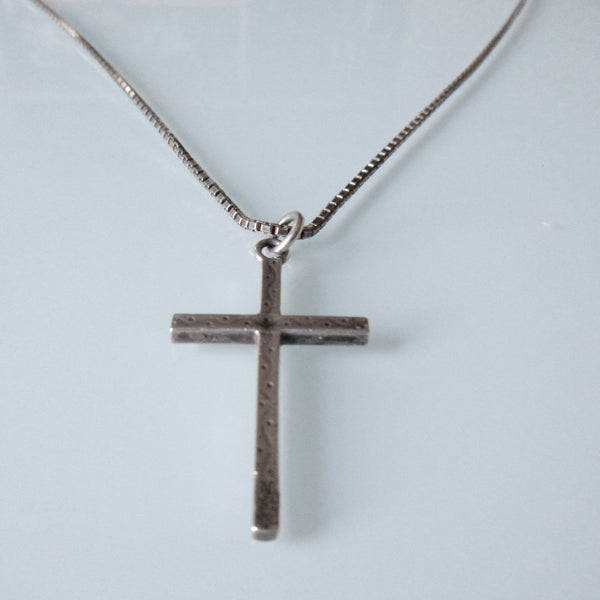 Simple  Etched Silver Cross Pendant