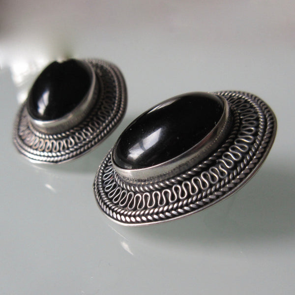 Vintage Silver Filigree Onyx Earrings