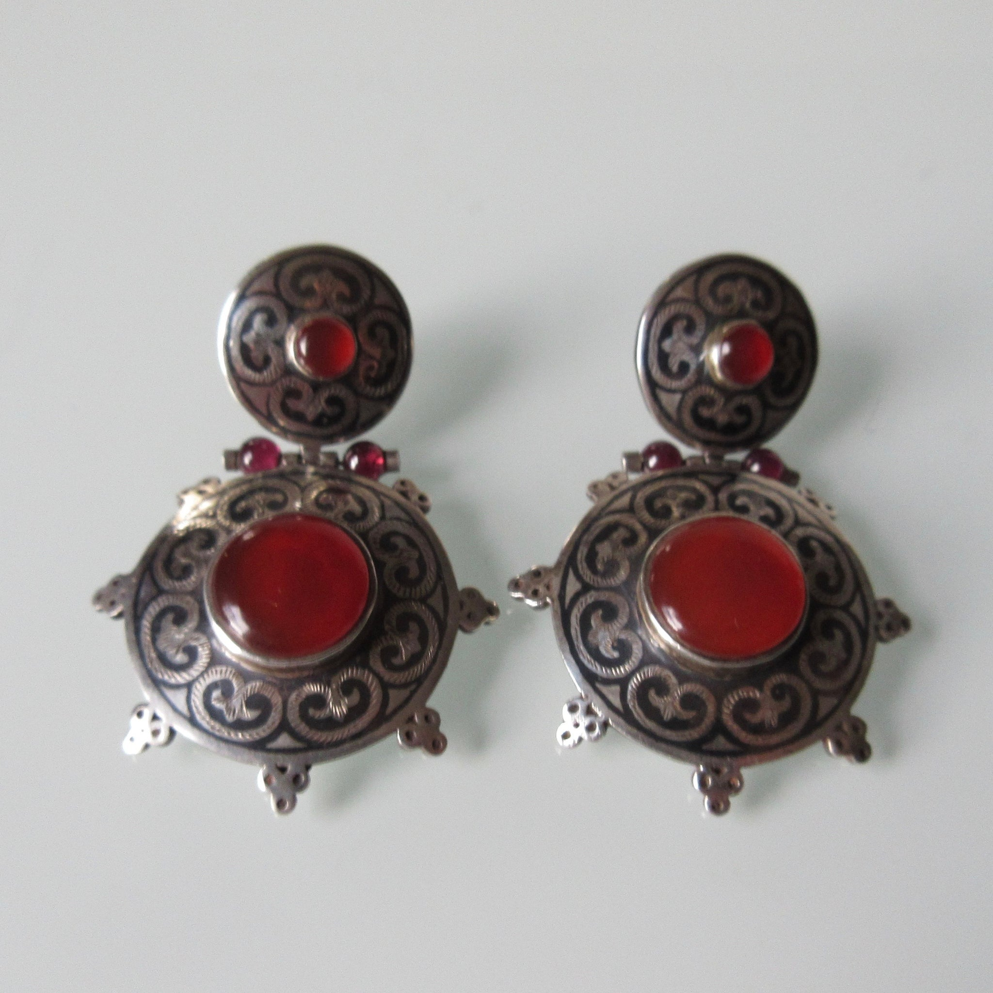 Silver Ethnic Niello Carnelian Earrings