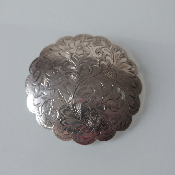 Vintage Etched Sterling Silver Brooch