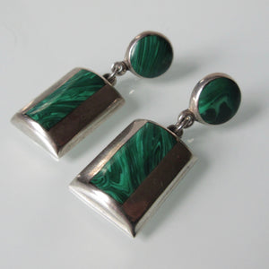 Taxco Malachite Silver Earrings