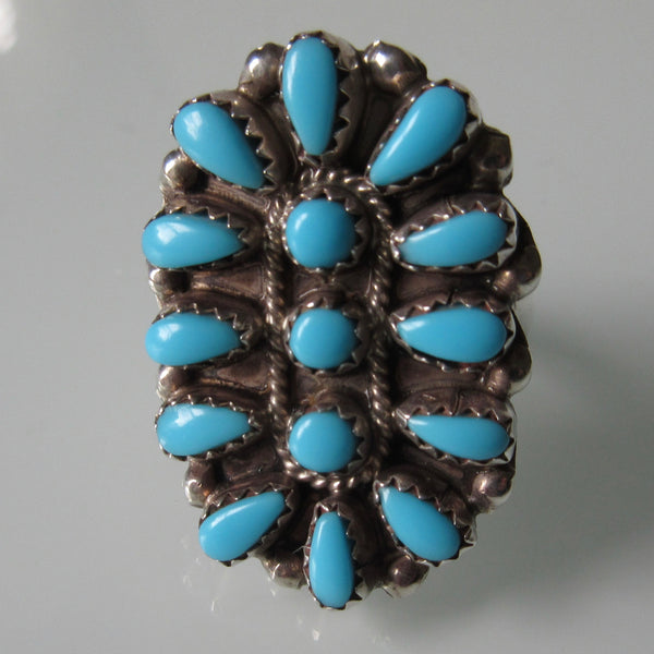 Zuni Petti Point Turquoise Cluster Ring