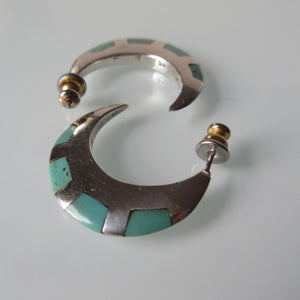 Navajo Inset Variscite Silver Earrings