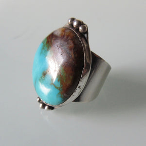 Vintage Navajo Turquoise Wide Band Ring
