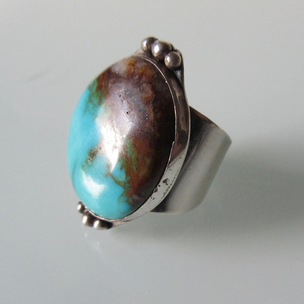 Vintage Navajo Turquoise Wide Ring