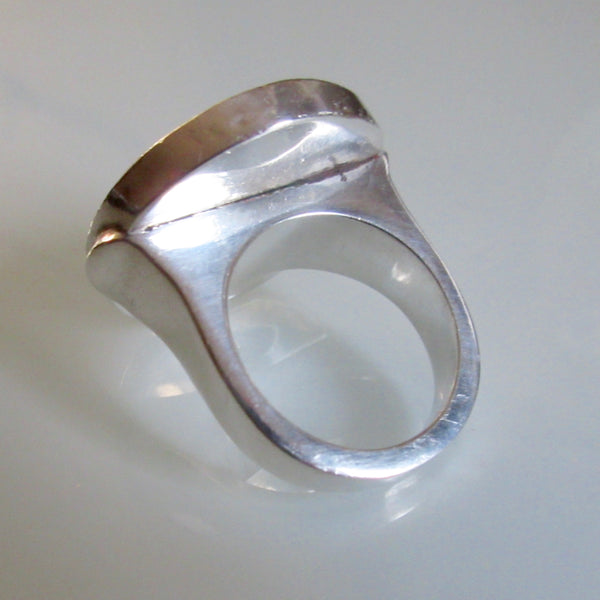 Sterling Silver Hollow Mother of Pearl Ring