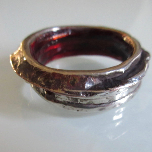 Vintage Cast Silver Blackened Band Ring
