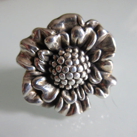 Sunflower Silver Hollow Ring