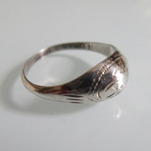 Delicate Silver Etched Ring