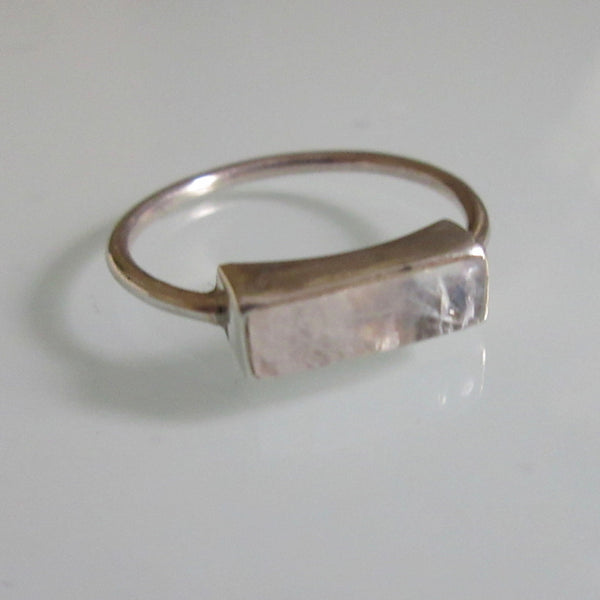 Delicate Silver Quartz Bar Ring