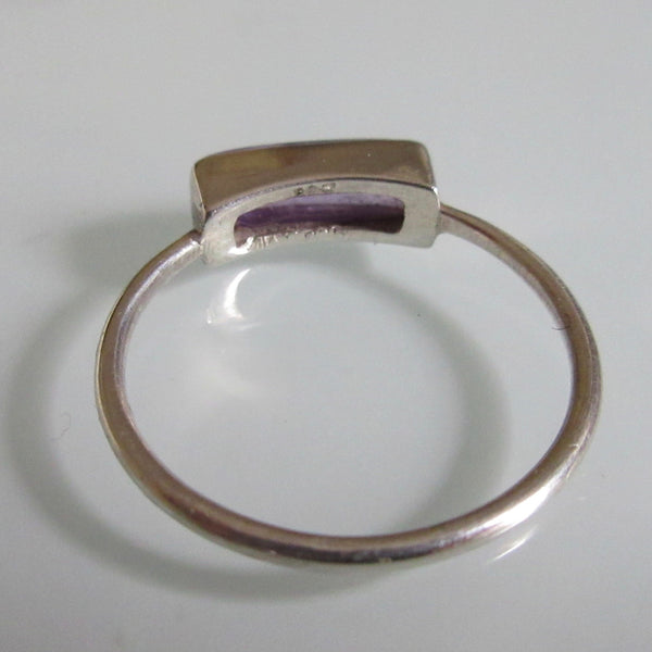 Delicate Silver Amethyst Bar Ring