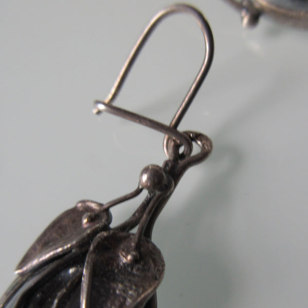Sterling Leaf Brooch & Earrings Hematite Cobachons