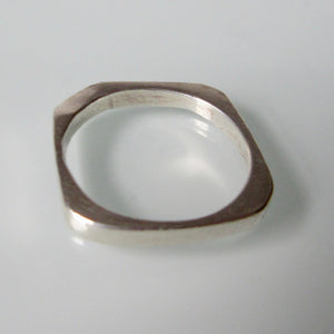 Angular Silver Pinky Ring