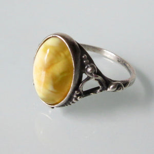 Butterscotch Amber Silver Art Nouveau Ring