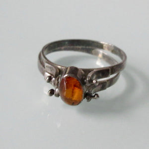 Reversible Amber Turquoise Silver Ring