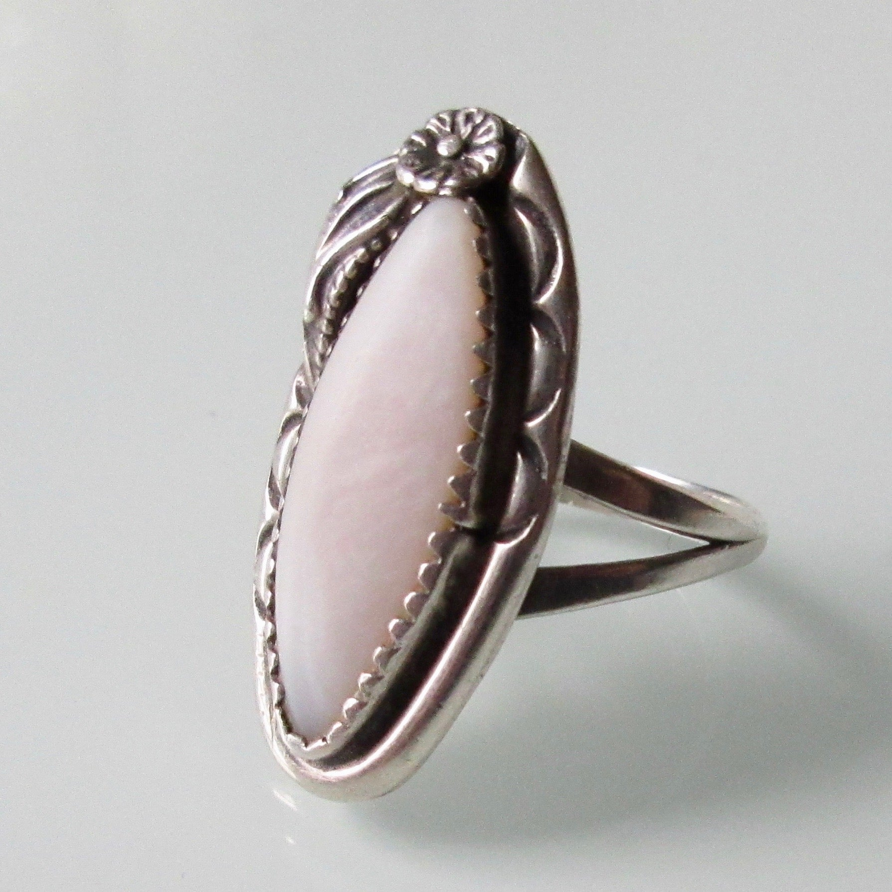 Ella Cowboy Navajo Mother of Pearl Silver Ring