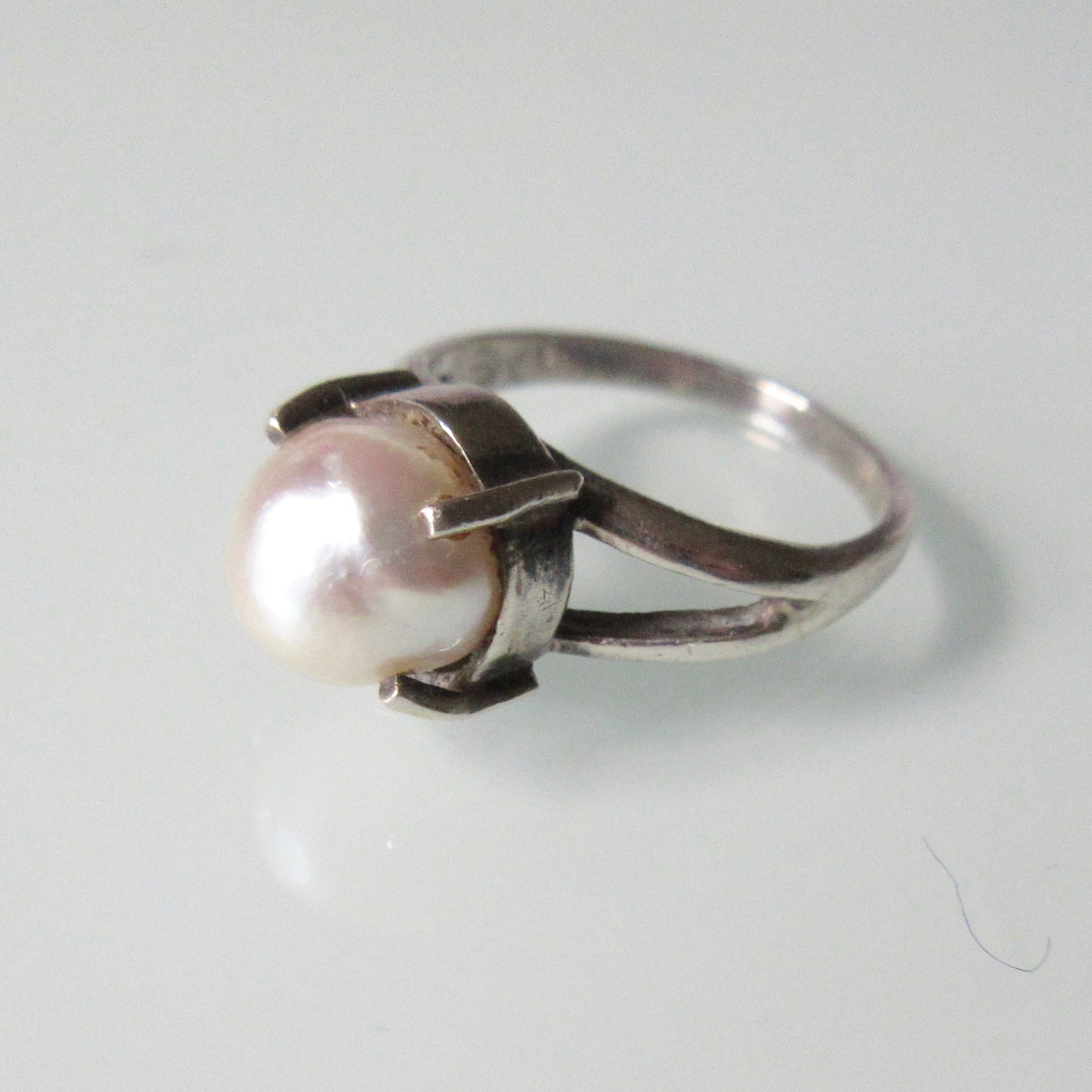 Contemporary Pearl and Silver Ring