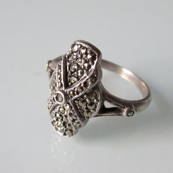 Marquisette and Silver Art Deco Ring