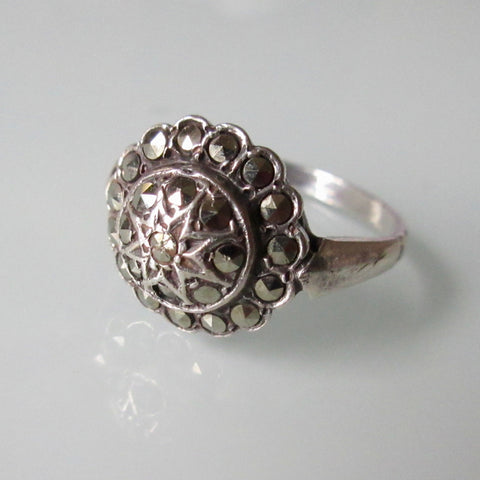 Marquisette and Silver Tiered Ring
