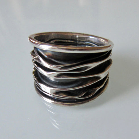 Brutalist Style Oxidized Crinkle Silver Ring