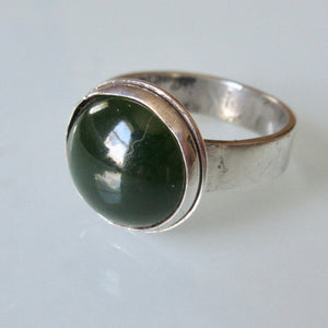 Modernist Green Agate Silver Ring