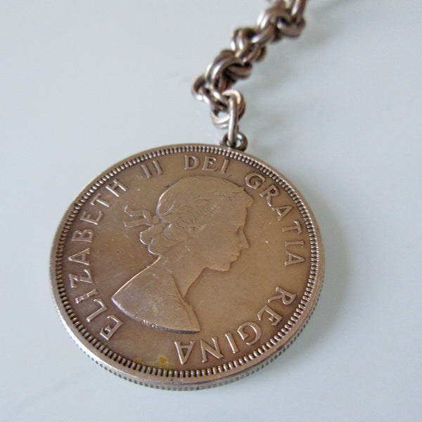 Canadian Silver Dollar 1964 Key Chain