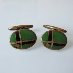 Art Deco Green Black Guilloche Enamel Cuff Links